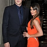 Lea Michele posed alongside boyfriend Cory Monteith at the Versace show for Paris Fashion Week.
