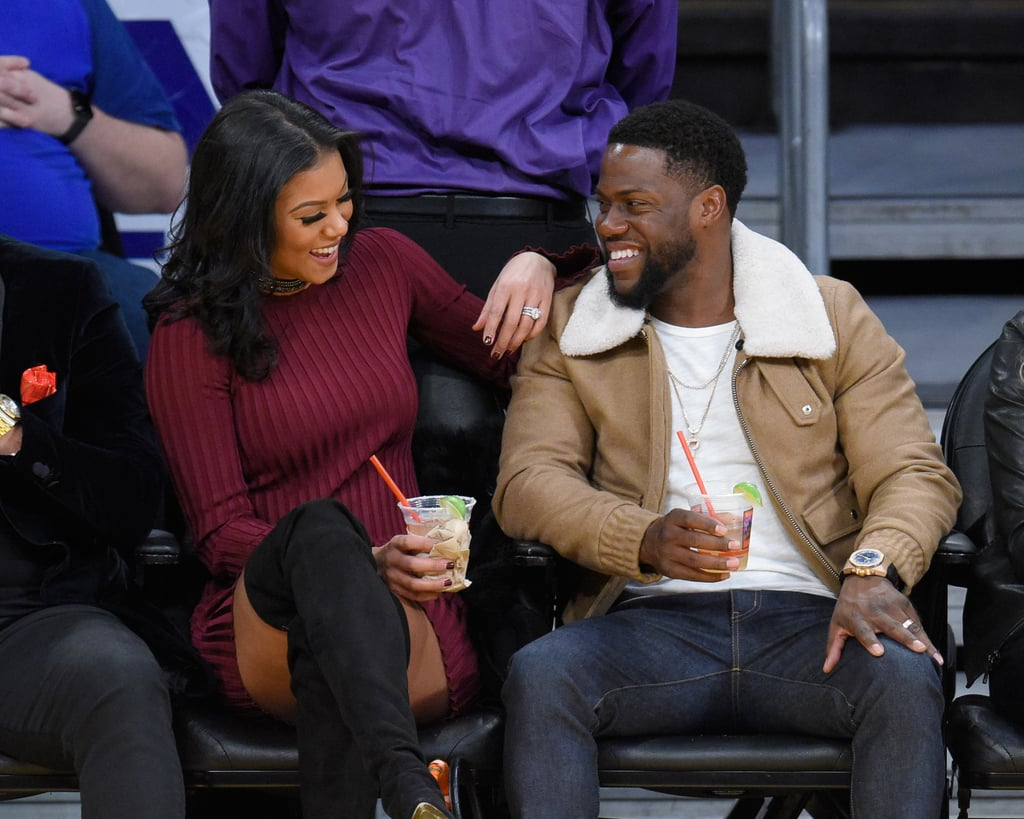 Kevin Hart and Eniko Parrish enjoyed a game of basketball on Christmas Day when they watched the LA Clippers take on the LA Lakers at the Staples Center. The couple, who tied the knot in August, looked extra cheery as they shared a few loving glances while sitting courtside. While the actor dressed casual in jeans, a t-shirt, and a beige jacket, his wife looked festive in a maroon sweater-dress and black boots. Not only did the two have fun taking selfies during the game, but Kevin also mingled with fellow comedian Melissa McCarthy and her husband, Ben Falcone. Of course, the best part was when Kevin took to the court to hang out with some of the players, proving how tall some of they are in the process. So cute!