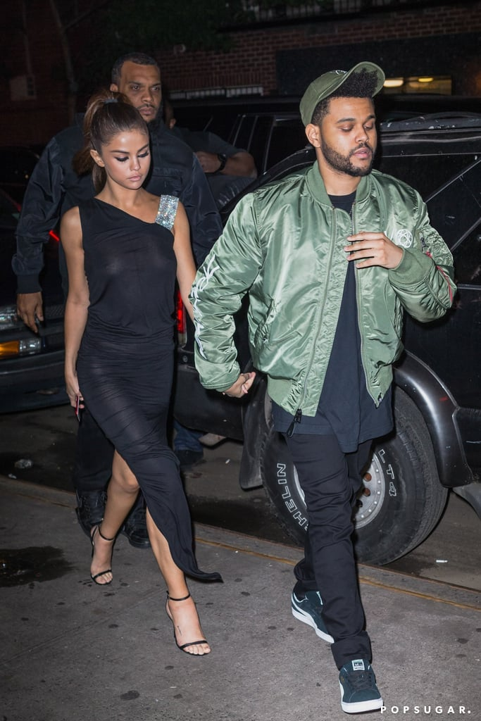 While Heading to Dinner With The Weeknd, the Songstress Wore a Sheer LBD by Alexandre Vauthier