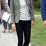 Kate chose a boho-style printed blouse and a crisp blazer added structure. She added pumps and jeans in darker shades.