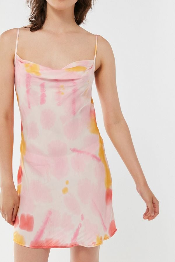 UO Luna Satin Cowl Neck Slip Dress