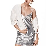 New Metallics Sequined Dress ($60) and Satin Bomber Jacket ($80)