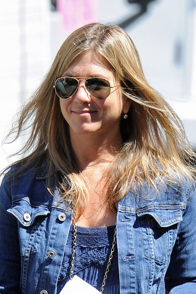 Jennifer Aniston wore aviators on set on July 30.