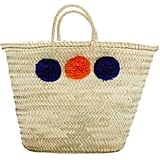 Malaga French Market Basket, With Pompoms (Orange and Indigo Blue) ($35)