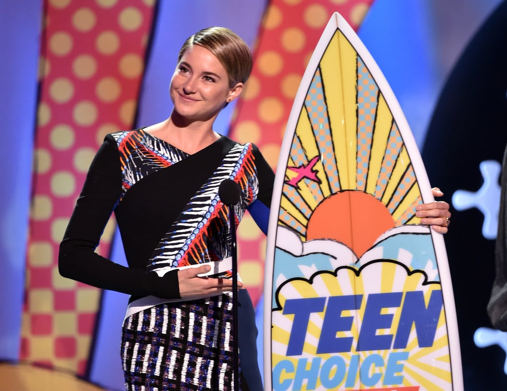 Shailene Woodley looked gorgeous while accepting the choice action actress award in 2014.