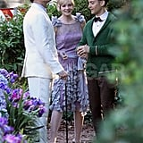 Leonardo DiCaprio, Carey Mulligan, and Tobey Maguire chatted on set.