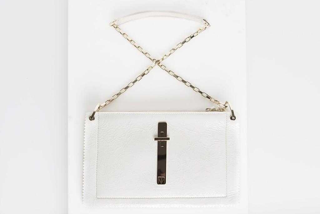 Attraction Patent Shoulder Bag in Cream Photo courtesy of Tamara Mellon