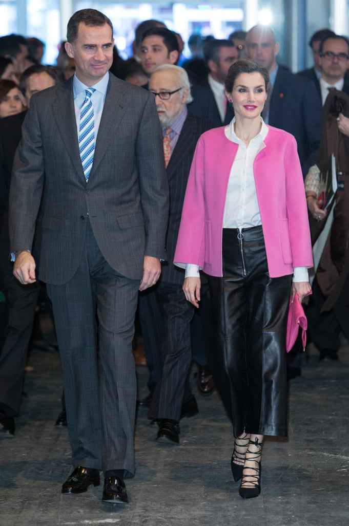 The Spanish royal wore a bright pink bolero jacket (and her trusty leather culottes) to the opening of Madrid's international contemporary art fair, ARCOmadrid, in February 2016.