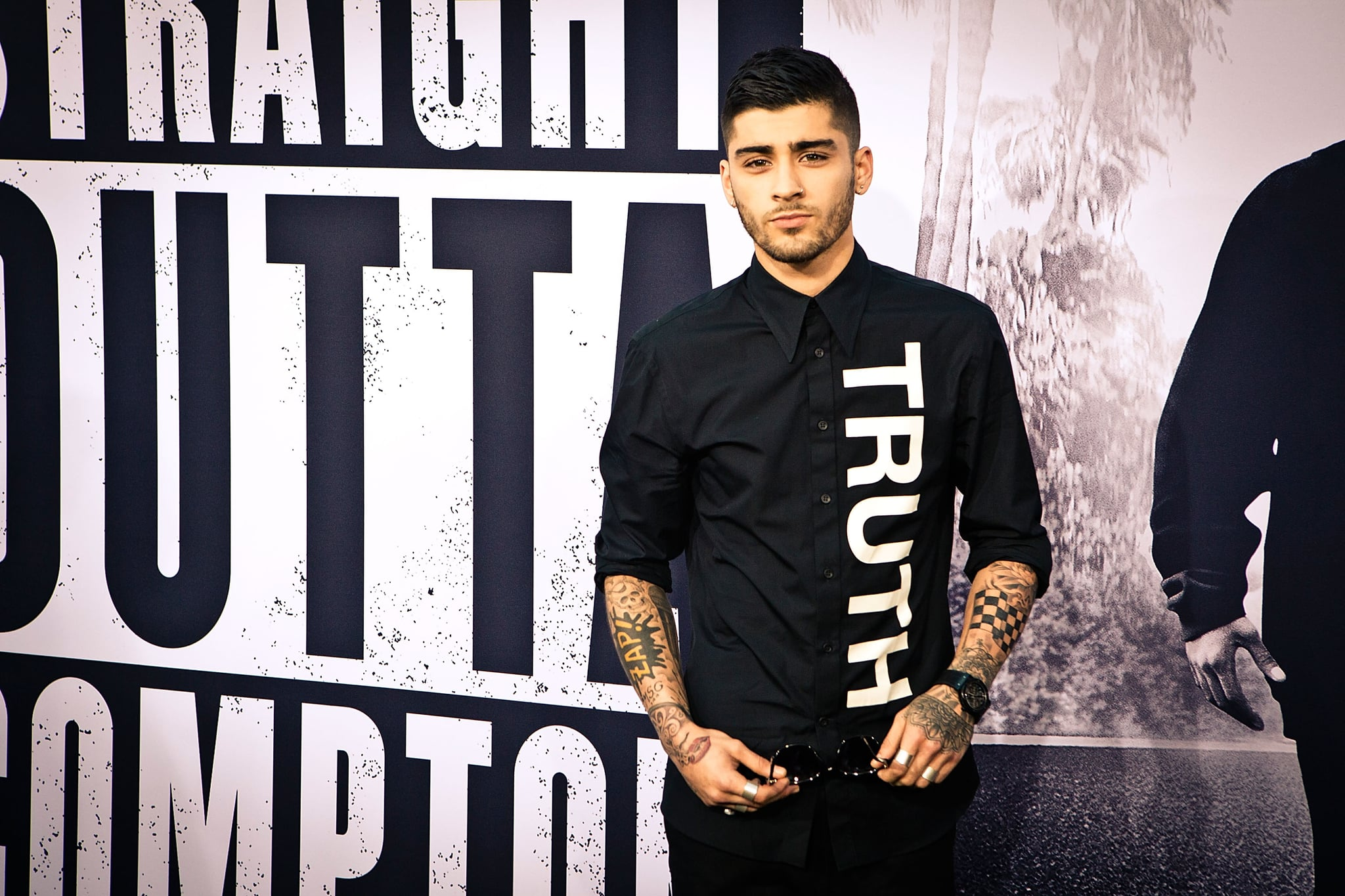 LOS ANGELES, CA - AUGUST 10:  (EDITOR'S NOTE: Image has been processed using digital filters) Zayn Malik arrives for Universal Pictures and Legendary Pictures' premiere of