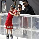 Jennifer Garner and Ben Affleck talked to Violet on the ice.