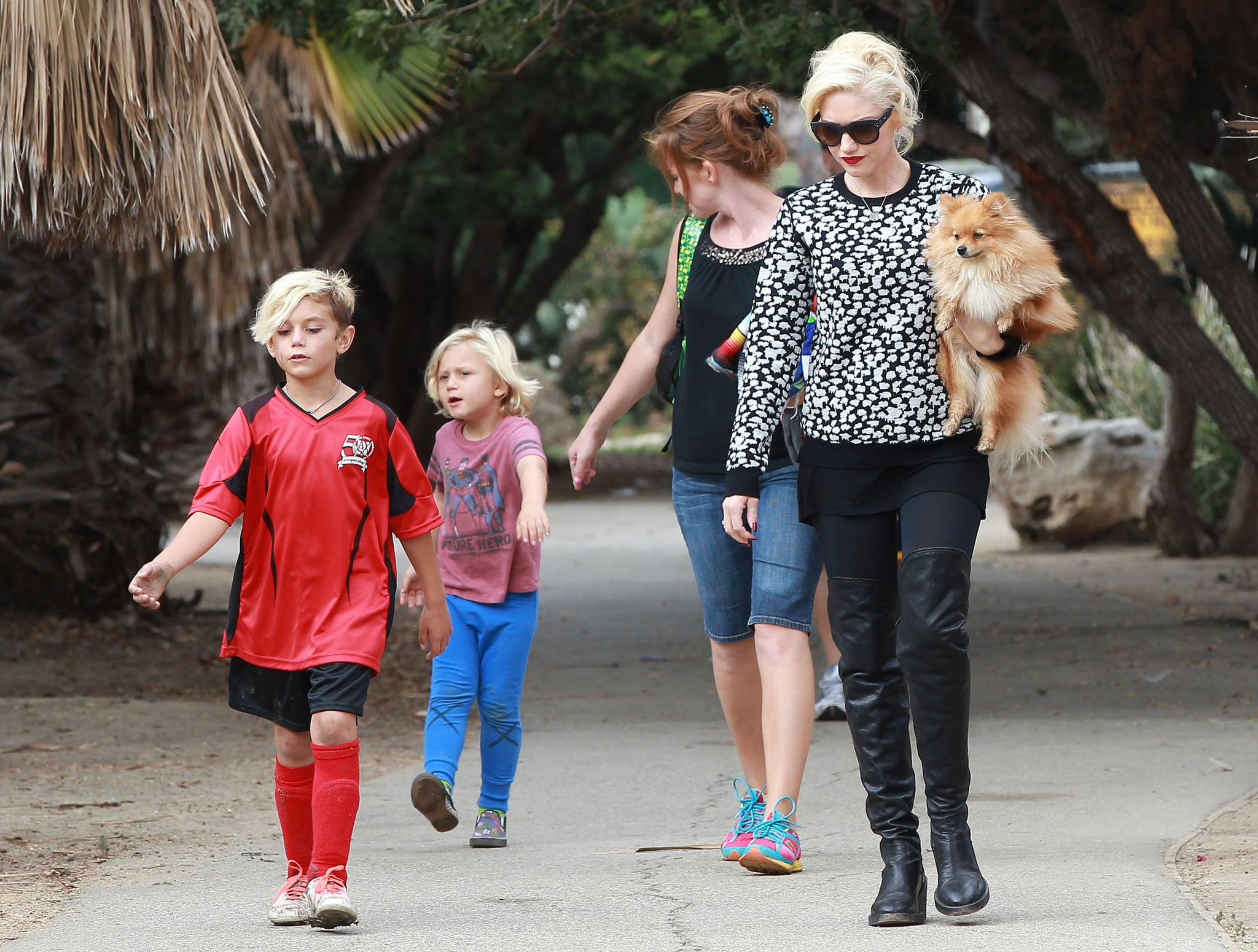 Gwen Stefani walked with her sons, Kingston and Zuma Rossdale, and their family dog.