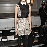Allison Williams looked sweet as ever in a collared lace dress and coordinating pumps at the Jason Wu show.