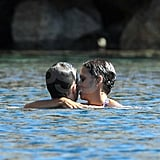 Halle Berry and Olivier Martinez kissing.