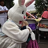 Sadie LeNoble enjoyed a sweet hug from the Easter Bunny. Source: Twitter user 1capplegate