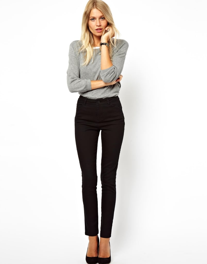 Black pants are priceless in the work wardrobe. Add another pair to the mix like ASOS's high-waisted style ($37).