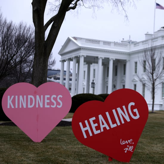 Jill Biden Decorates White House Lawn For Valentine's Day