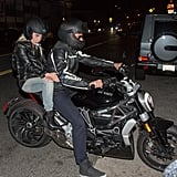 Gaga hopped on the back of Bradley's motorcycle for a dinner date in April 2016.