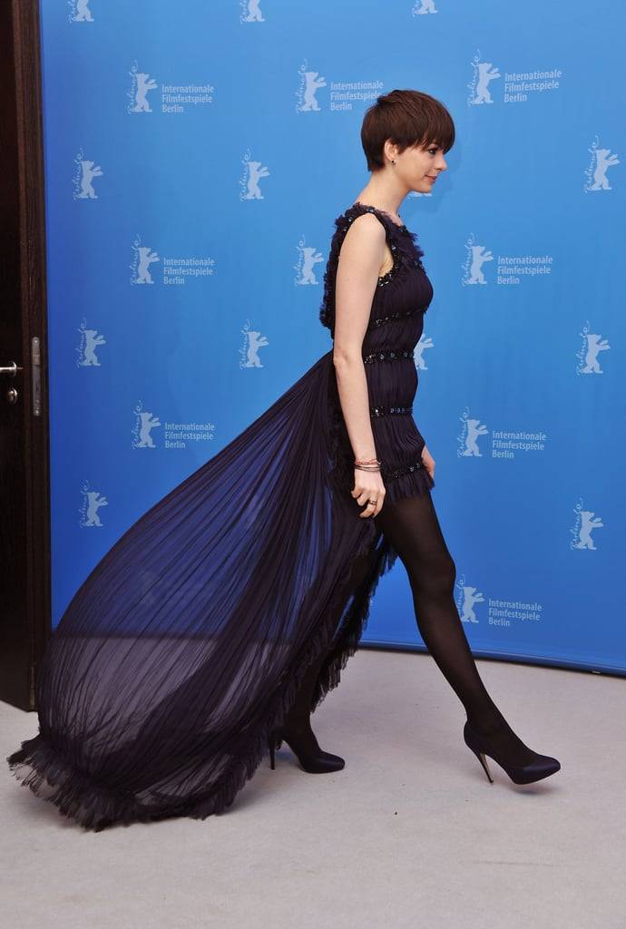 Anne Hathaway wore Chanel to a photocall for Les Misérables on Saturday at the Berlin Film Festival.