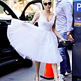 Channelling Marilyn Monroe for this elegant look. Her shoes are by Neil J Rodgers.