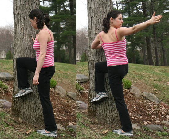 Stretch It: Spinal Twist Against a Tree
