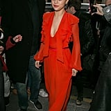 It was all about Selena's retro '70s glam in this gorgeous Giambattista Valli dress and Francesco Russo sandal.