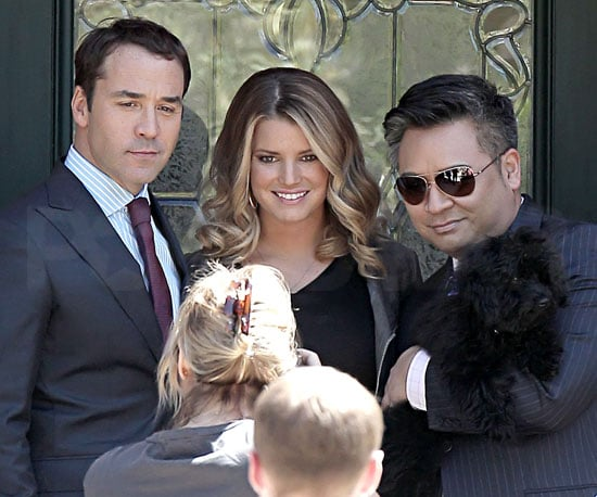 Slide Picture of Jessica Simpson, Jeremy Piven, and Rex Lee Filming Entourage