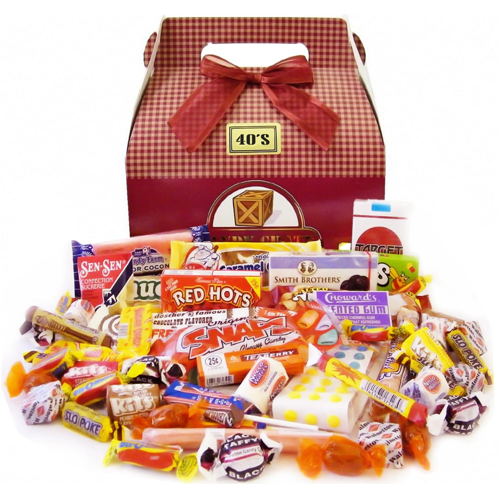 For a fun, tasty treat, try this retro candy gift box ($35), which includes nostalgic sweets by decade.