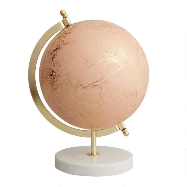 Blush Globe on Marble Stand