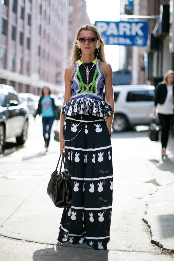 Natalie Joos ruled the sidewalk in her major prints and Morgenthal Frederics shades.