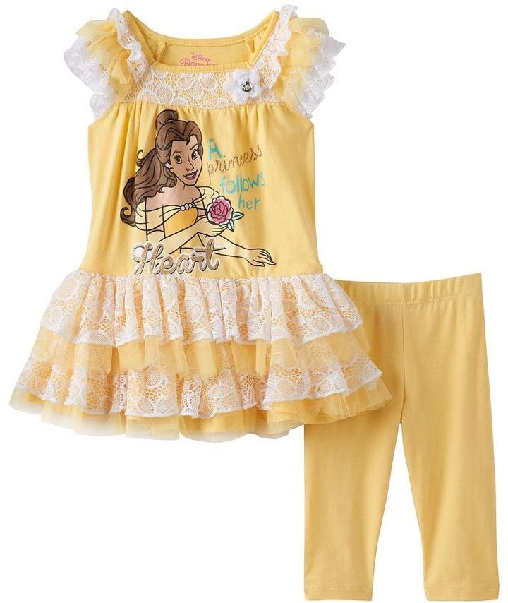 5af7e1084ffc45 Disney Girls Beauty and the Beast Belle Dress & Leggings Set ($22,  originally $36