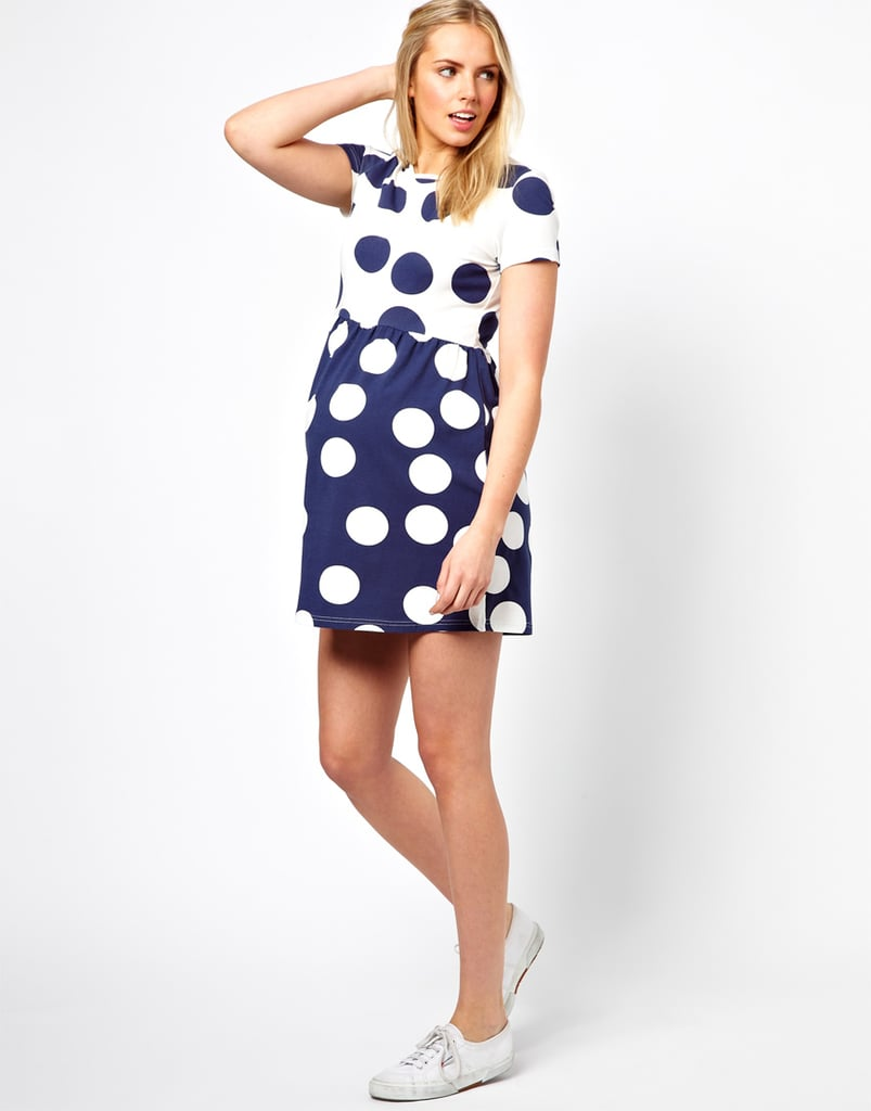 ASOS's playful maternity smock dress ($42) features contrasting, oversize polka dots in summery navy and white.