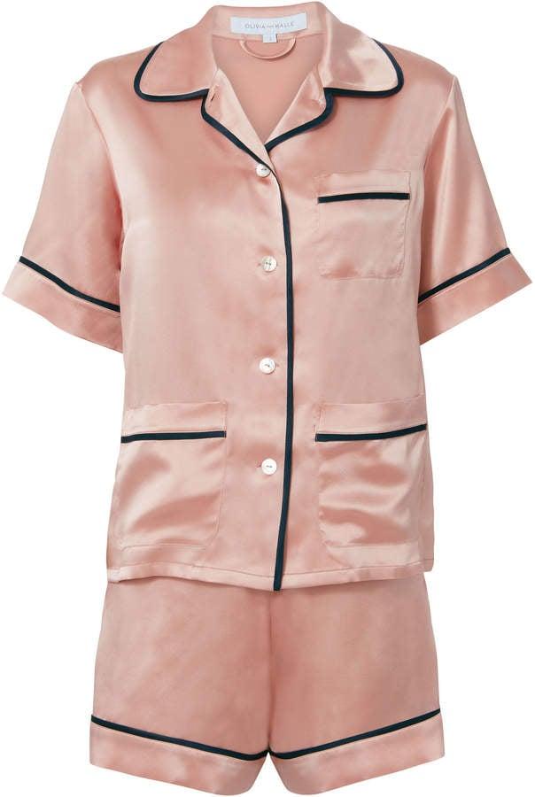 Olivia Von Halle Millicent Oyster Silk Pajama Set  9144b34bd
