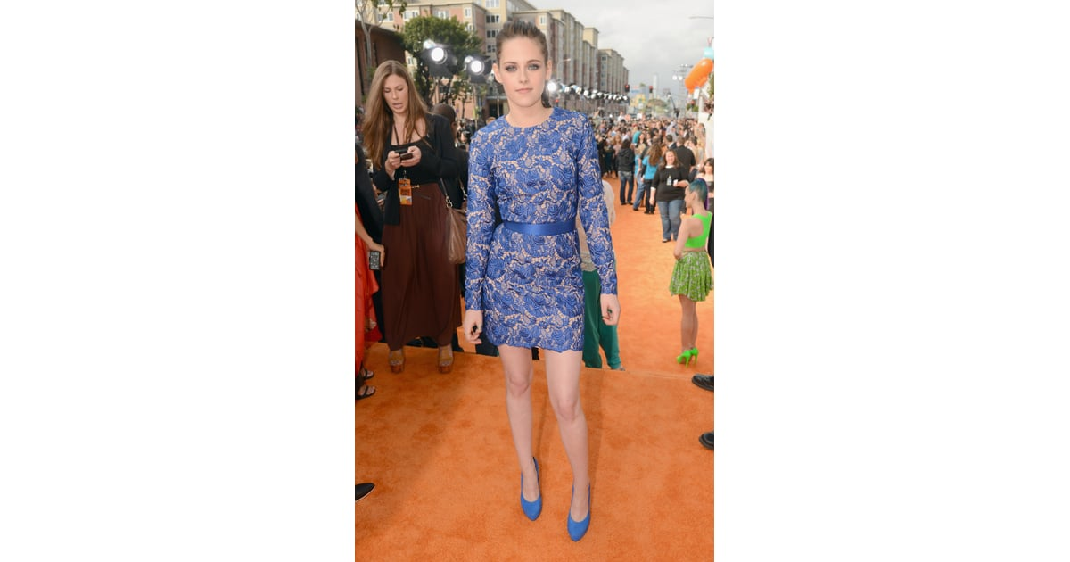 Kristen Stewart wore a blue floral lace minidress from ...