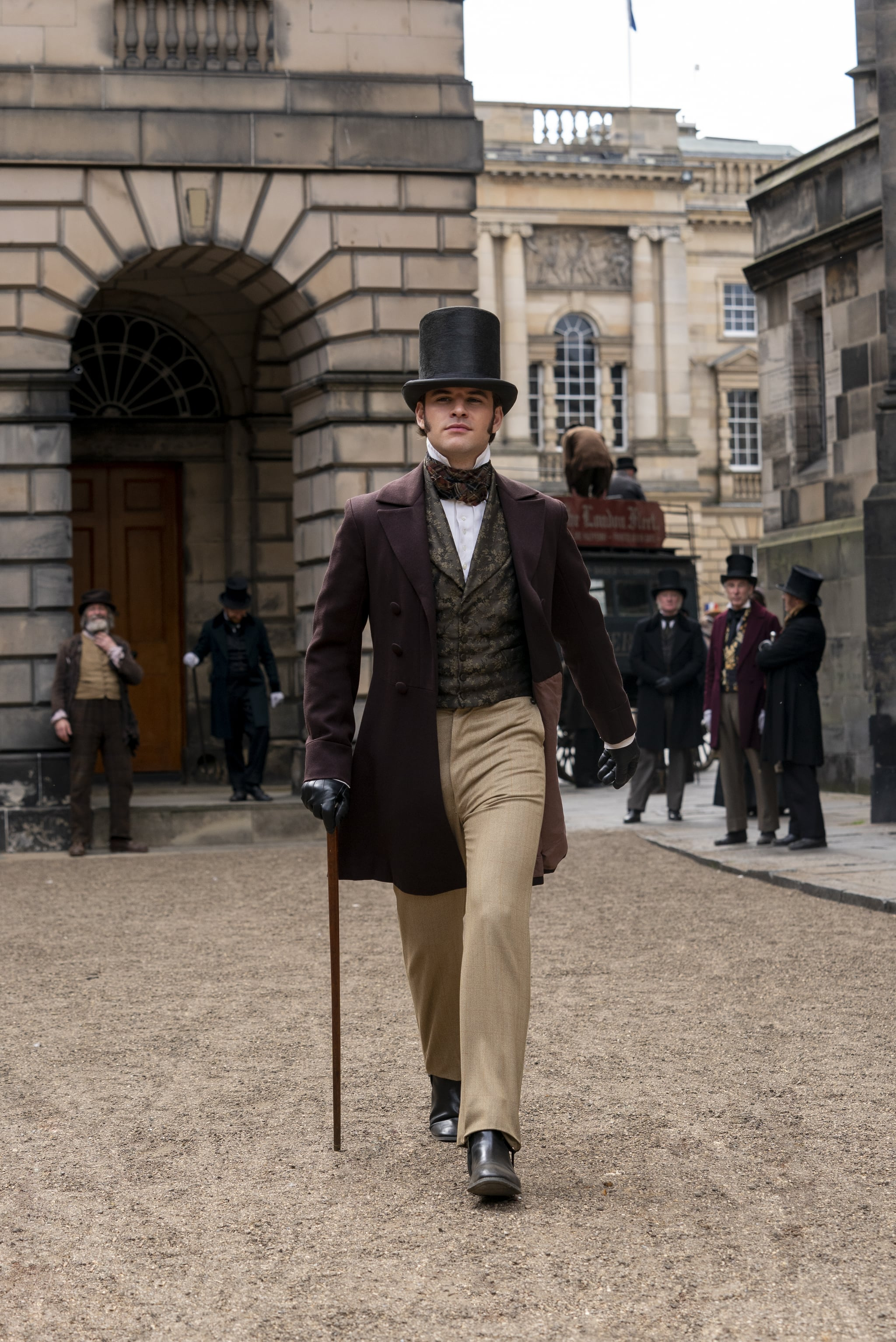 Belgravia, a brand new six-part series from Carnival Films coming to ITV and EPIX in 2020, tells Julian Fellowes intriguing tale of London society in the 19th Century.PICTURED: Jack Bardoe as Charles PopePhotographer Colin Hutton. The award-winning creative team behind Downton Abbey reunites with Fellowes, who has adapted from his bestselling novel of the same name for television screens, joined by a stellar ensemble cast including Tamsin Grieg, Philip Glenister, Harriet Walter, Tom Wilkinson and Alice Eve. Filming completed earlier this year at a range of stunning Victorian locations in London and the home counties, Edinburgh, Bath and Northumberland.  Belgravia is a story of secrets and dishonour amongst the upper echelon of London society in the 19th Century. When the Trenchards accept an invitation to the now legendary ball hosted by the Duchess of Richmond on the fateful eve of the Battle of Waterloo, it sets in motion a series of events that will have consequences for decades to come as secrets unravel behind the porticoed doors of Londons grandest postcode.  Carnival Films Gareth Neame is executive producer alongside Nigel Marchant, Liz Trubridge and Fellowes. John Alexander (Sense & Sensibility, Trust Me) directed the limited series with Colin Wratten (Killing Eve) producing.