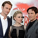 Anna Paquin posed with Alexander Skarsgard and Stephen Moyer at the True Blood season five premiere.