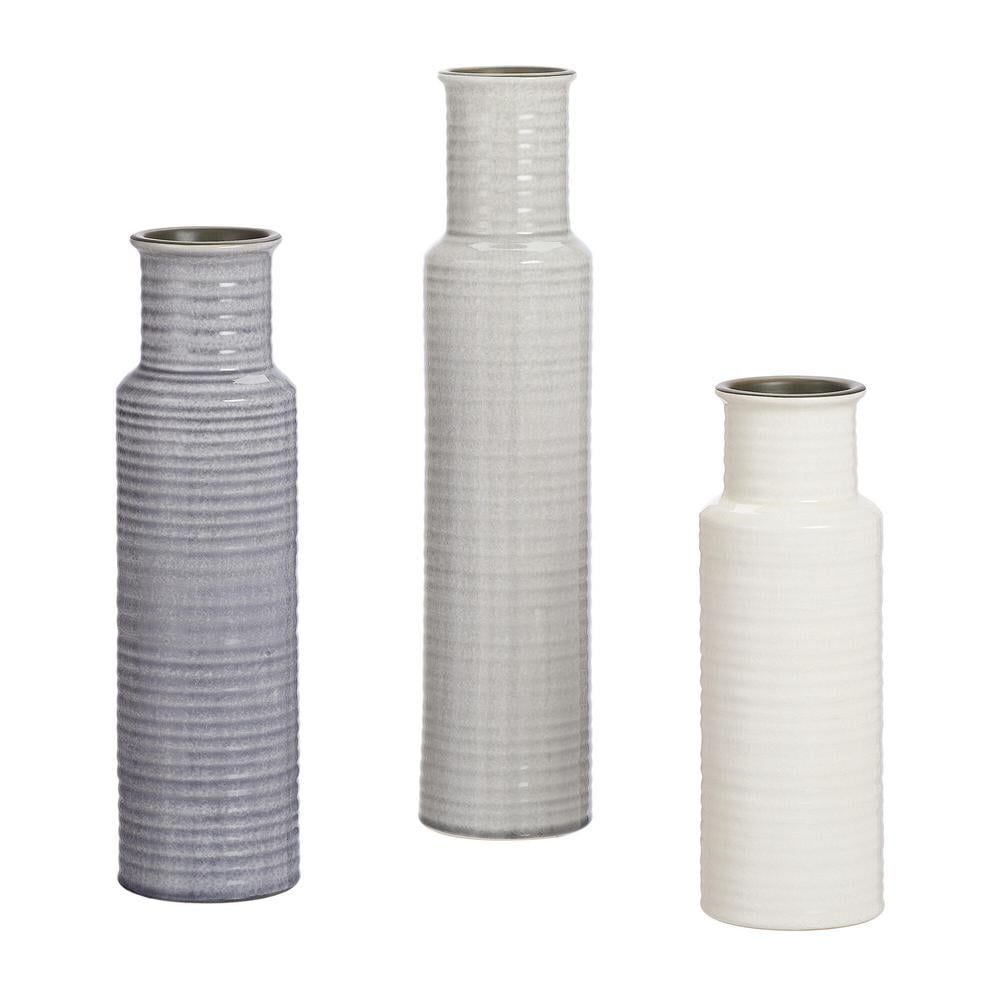 Home Decorators Collection Stone Grey, Shadow Grey and White Ceramic Decorative