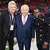 Jon Bon Jovi, CEO of the New England Patriots Robert Kraft, and Kevin Hart.