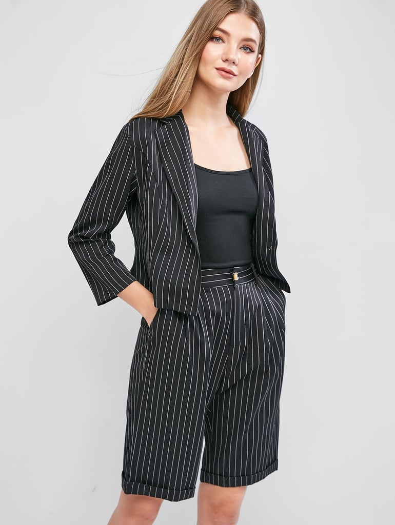 ZAFUL Pinstriped One Button Pocket Two Piece Shorts Set