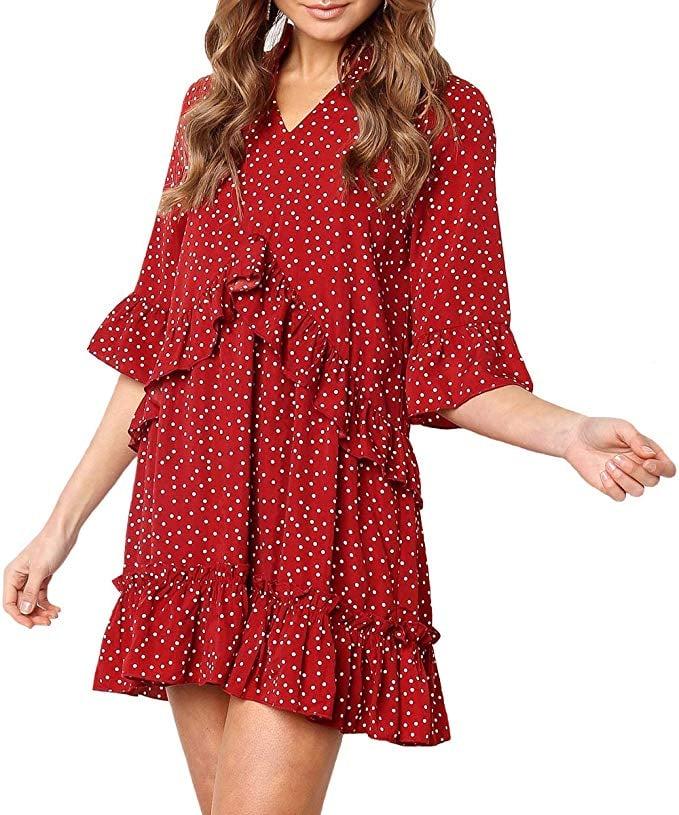 Mitilly Women's V-Neck Ruffle Polka-Dot Pocket Loose Swing Casual Short T-Shirt Dress