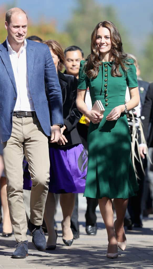 Kate joined Prince William on a visit to Kelowna University wearing an emerald Dolce & Gabbana dress with a row of buttons down the bodice and a ribbon bow at the neckline.
