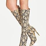 Romwe Snakeskin Print Knee Length Boots