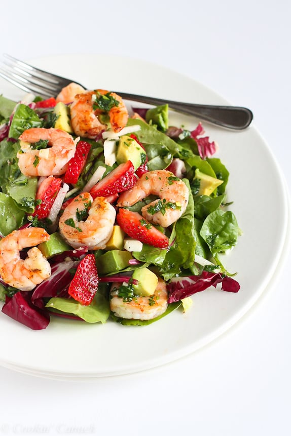 Shrimp Salad With Jicama, Strawberries, and Avocado