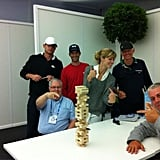Brooklyn Decker, Andy Roddick, and some friends engaged in a fierce game of Jenga. Source: Twitter user BrooklynDecker