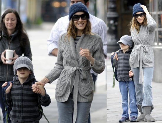 Pictures of Sarah Jessica Parker Walking James Wilkie to School