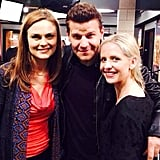 Sarah met up with David Boreanaz and his Bones costar Emily Deschanel in February 2014. Source: Twitter user RealSMG