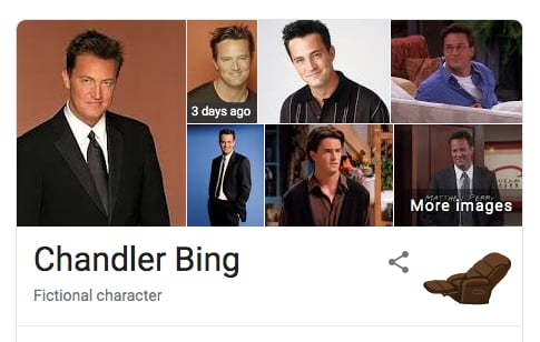 Chandler Bing Friends Google Easter Egg