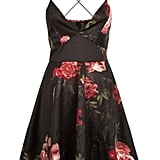 New Look AX Paris Black Floral Plunge Skater Dress