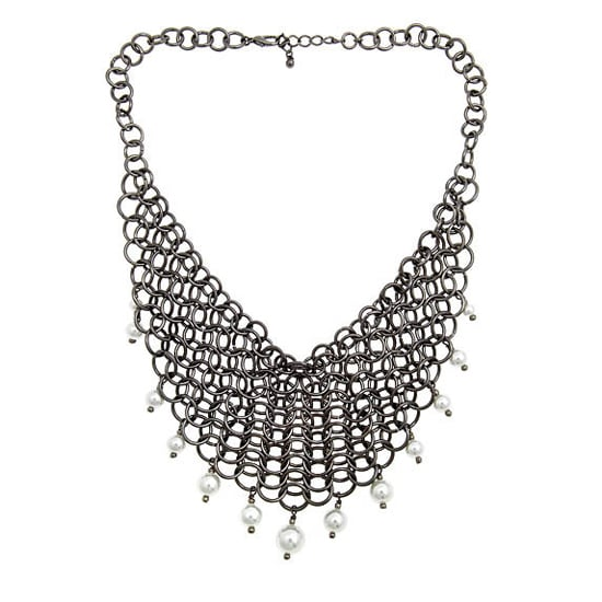 Alexandra Beth Bib Necklace in Silver, $75