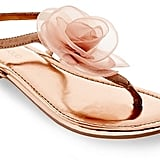 Tevolio Women's Avianna Metallic Floral Thong Sandals