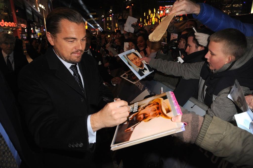 Leonardo DiCaprio Revenant UK Premiere 2016   Oscar Nominees